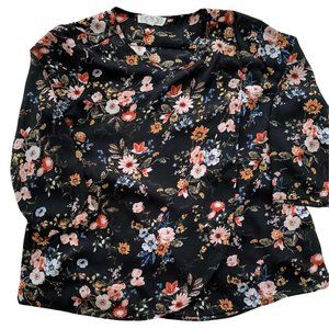 PINK ROSE Blouse Med Black Semi-Sheer Airy Floral 3/4 Sleeve Round Neck Wrap Top